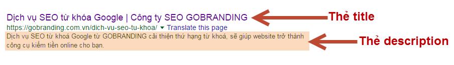 Thẻ title và description của từng trang trên website cần được biên tập, tối ưu